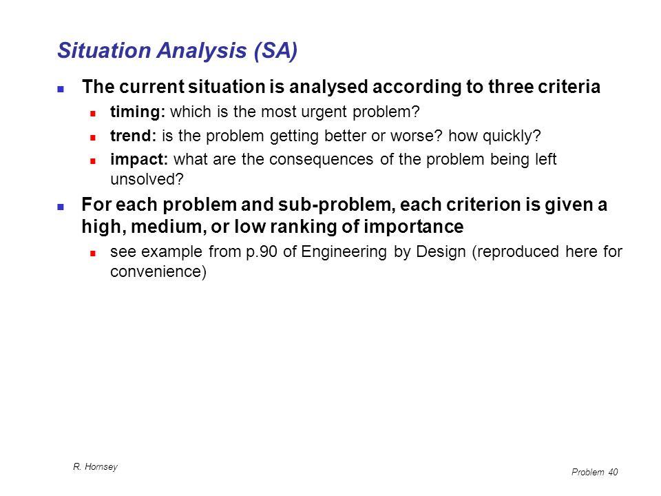 Situation Analysis (SA)
