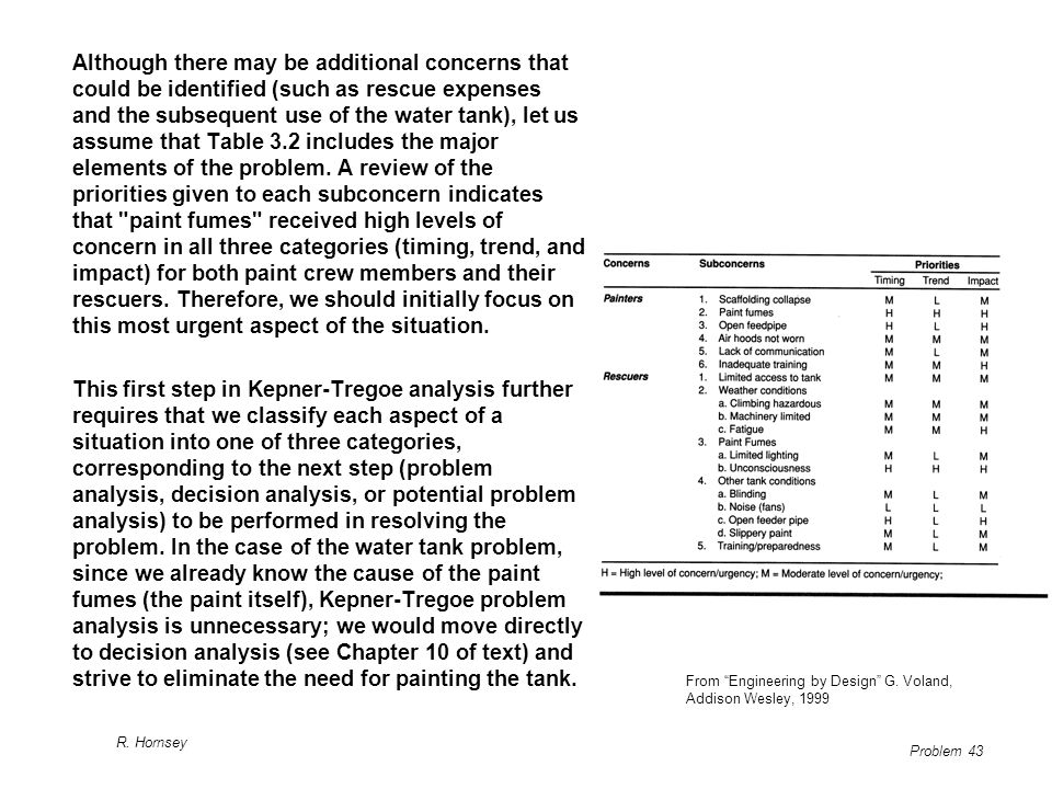 Although there may be additional concerns that could be identified (such as rescue expenses and the subsequent use of the water tank), let us assume that Table 3.2 includes the major elements of the problem. A review of the priorities given to each subconcern indicates that paint fumes received high levels of concern in all three categories (timing, trend, and impact) for both paint crew members and their rescuers. Therefore, we should initially focus on this most urgent aspect of the situation.