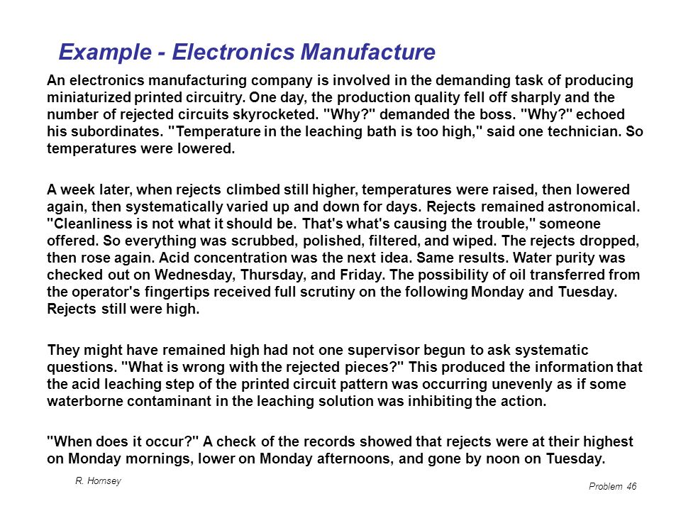 Example - Electronics Manufacture