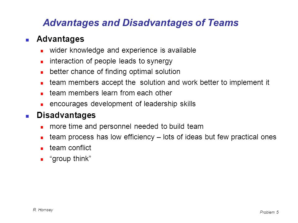 Advantages and Disadvantages of Teams