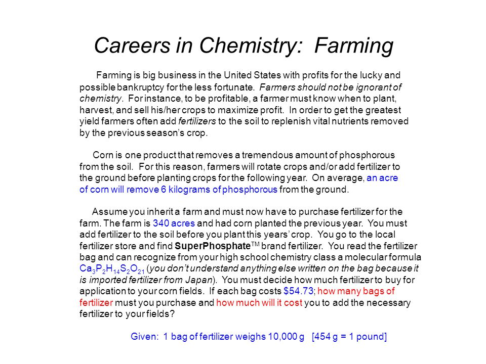 Careers in Chemistry: Farming