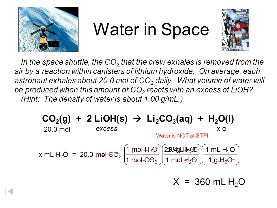 Water in Space In the space shuttle, the CO2 that the crew exhales is removed from the.