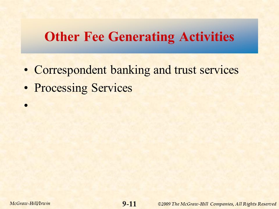 Other Fee Generating Activities