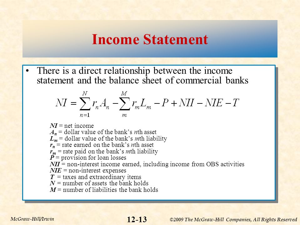 Income Statement There is a direct relationship between the income statement and the balance sheet of commercial banks.