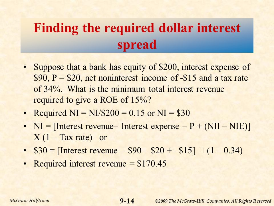 Finding the required dollar interest spread
