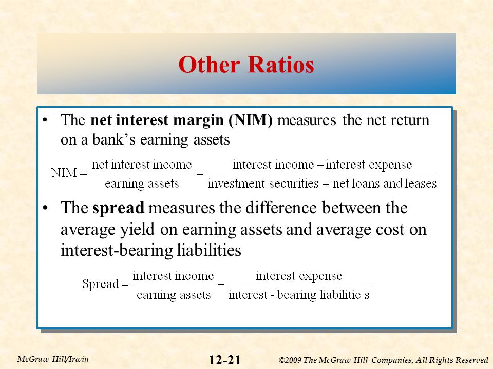 Other Ratios The net interest margin (NIM) measures the net return on a bank's earning assets.