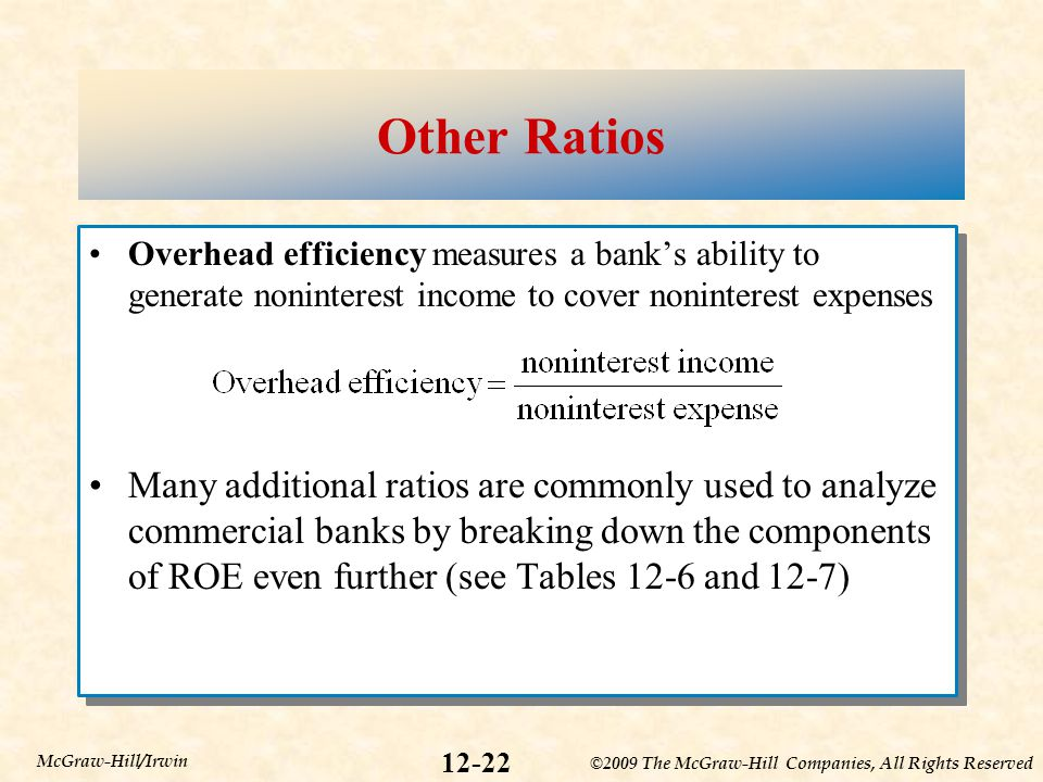 Other Ratios Overhead efficiency measures a bank's ability to generate noninterest income to cover noninterest expenses.