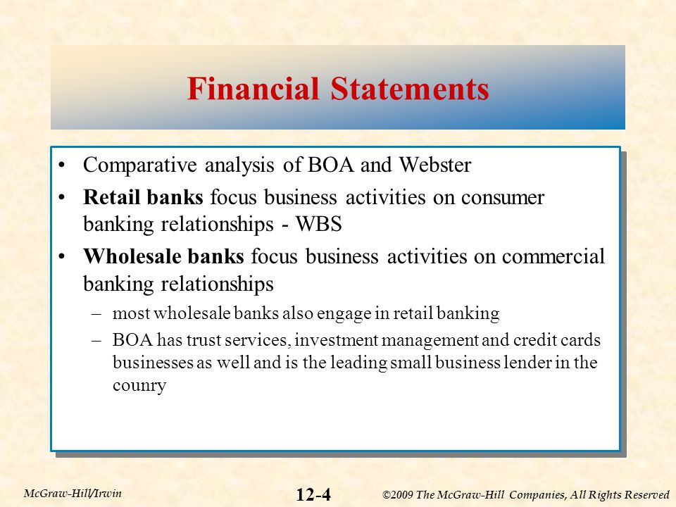 Financial Statements Comparative analysis of BOA and Webster