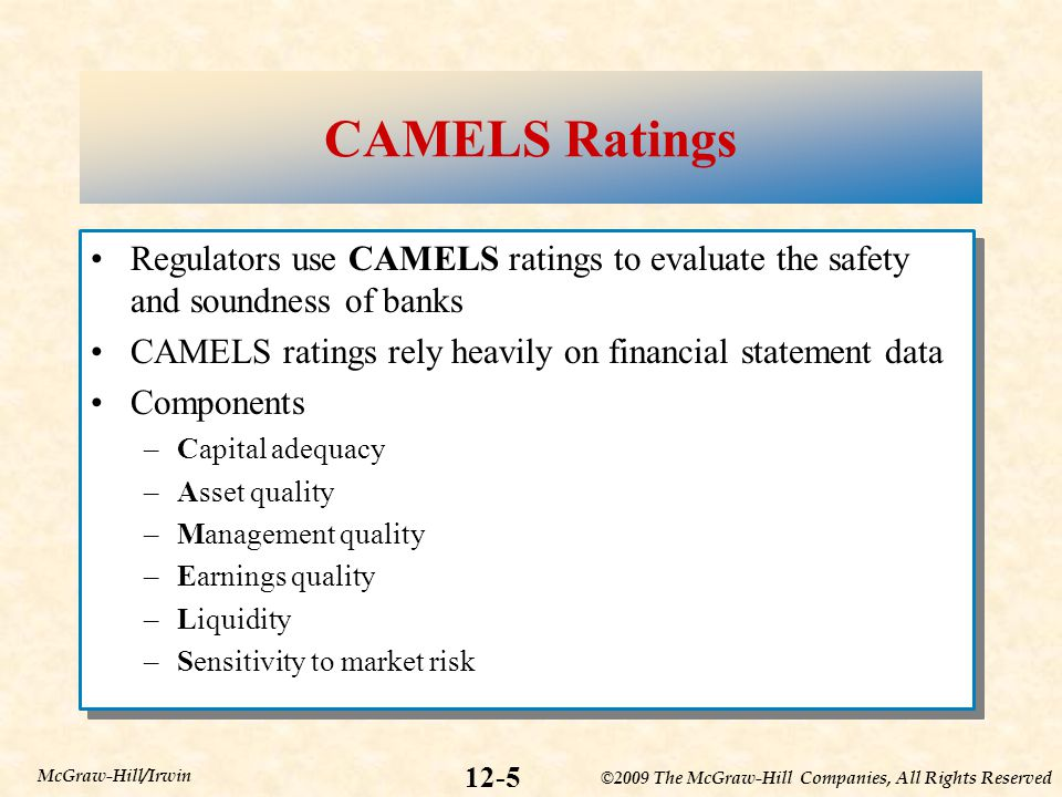 CAMELS Ratings Regulators use CAMELS ratings to evaluate the safety and soundness of banks. CAMELS ratings rely heavily on financial statement data.