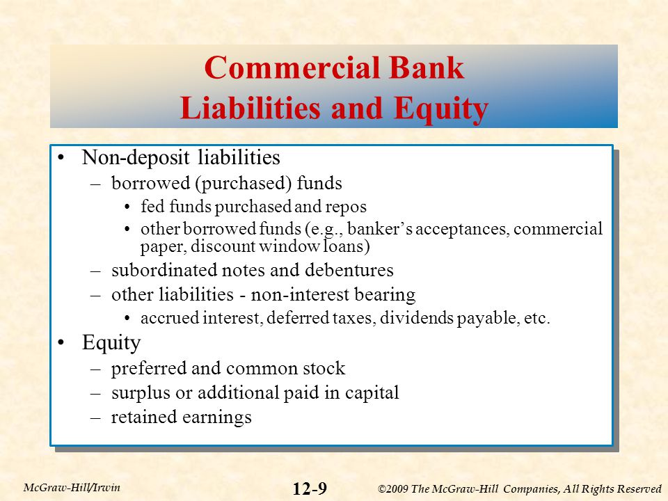Commercial Bank Liabilities and Equity