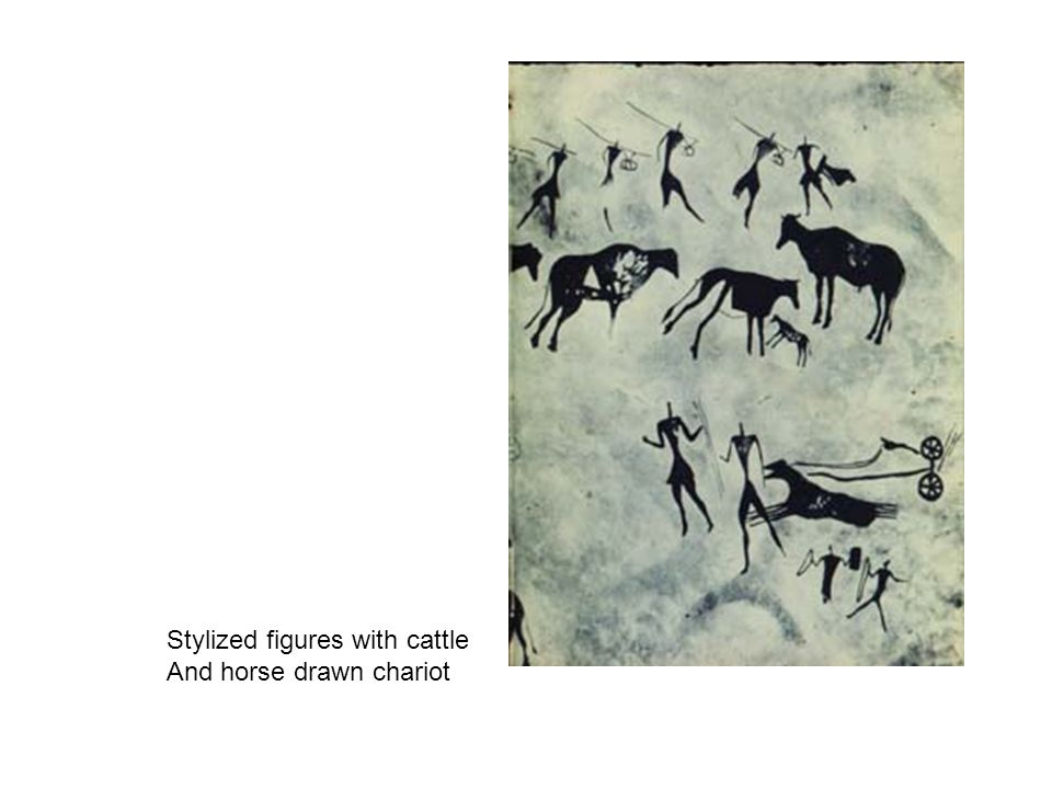 Stylized figures with cattle