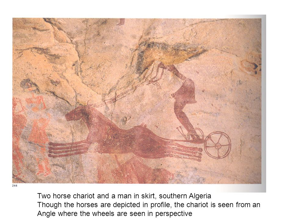 Two horse chariot and a man in skirt, southern Algeria
