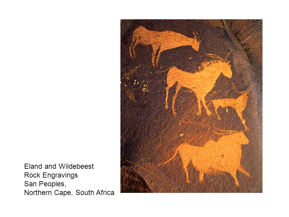 Eland and Wildebeest Rock Engravings San Peoples, Northern Cape, South Africa