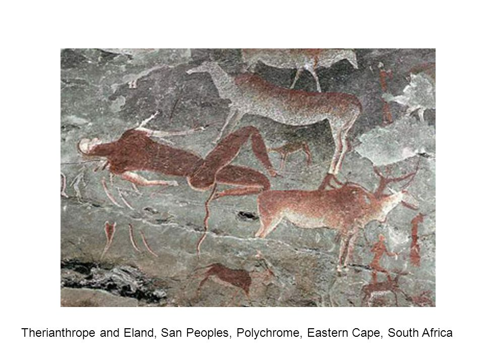 Therianthrope and Eland, San Peoples, Polychrome, Eastern Cape, South Africa