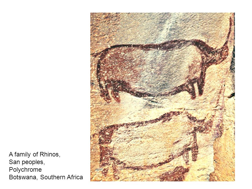A family of Rhinos, San peoples, Polychrome Botswana, Southern Africa