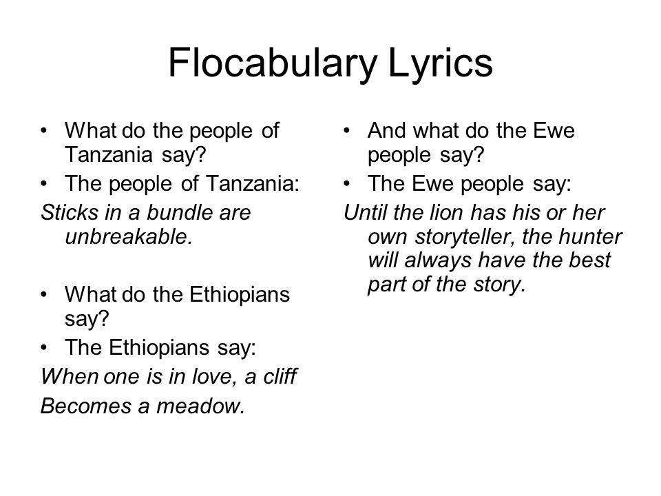 Flocabulary Lyrics What do the people of Tanzania say