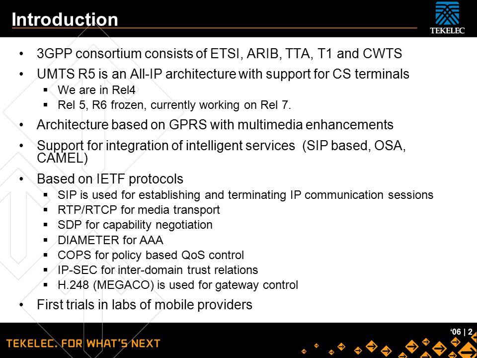 Introduction 3GPP consortium consists of ETSI, ARIB, TTA, T1 and CWTS