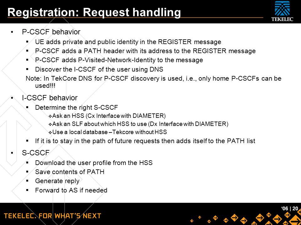 Registration: Request handling