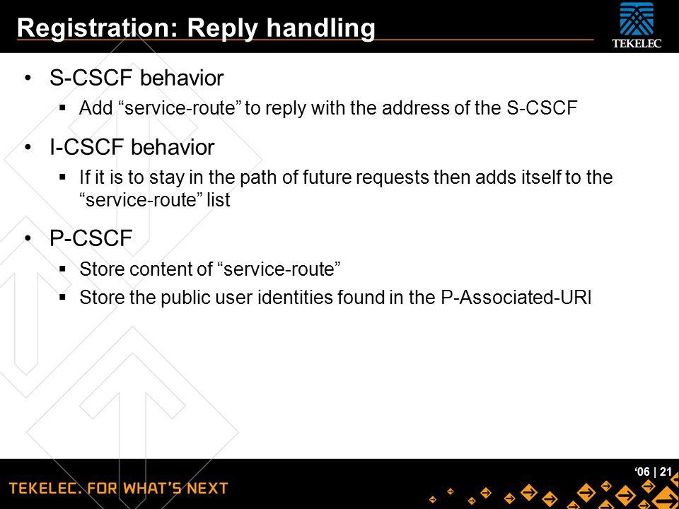 Registration: Reply handling