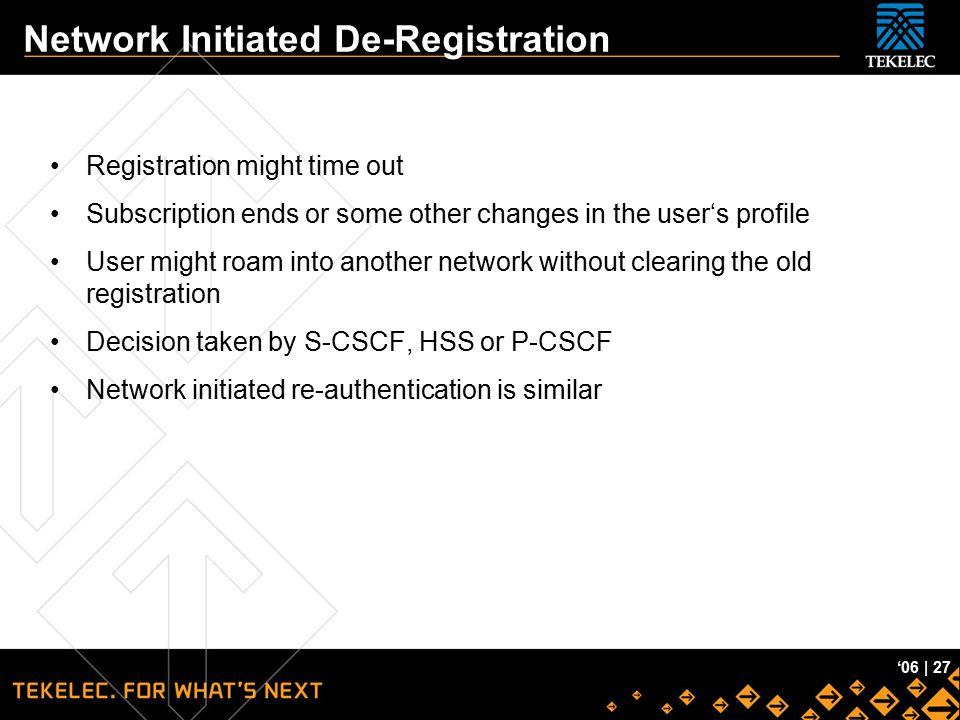 Network Initiated De-Registration