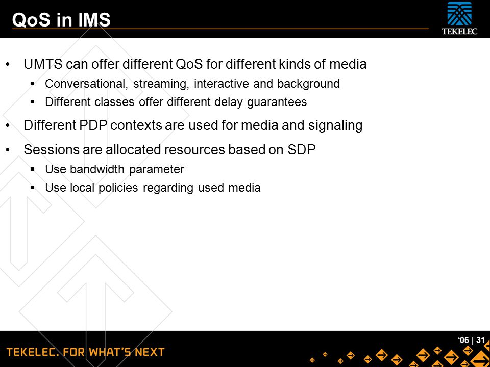 QoS in IMS UMTS can offer different QoS for different kinds of media