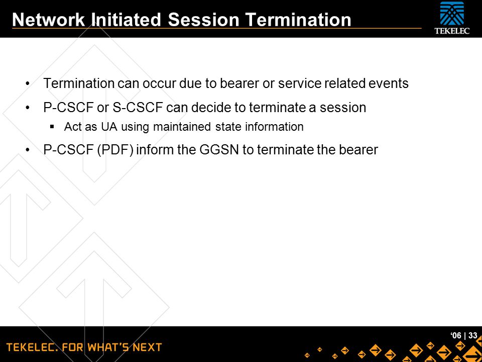 Network Initiated Session Termination