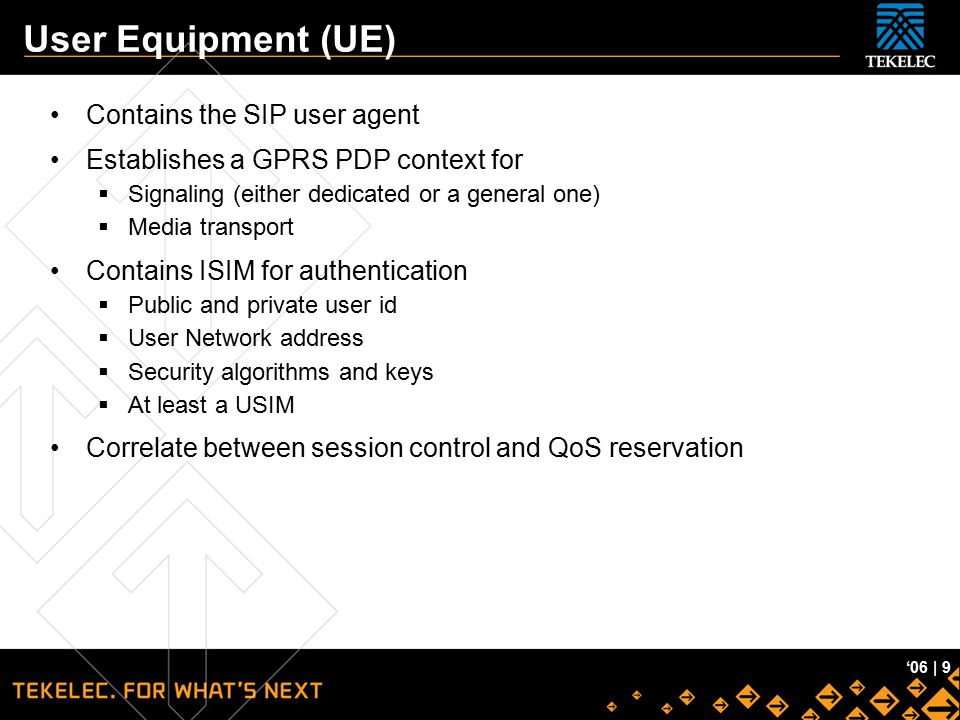 User Equipment (UE) Contains the SIP user agent