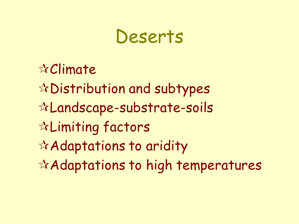 Deserts Climate Distribution and subtypes Landscape-substrate-soils