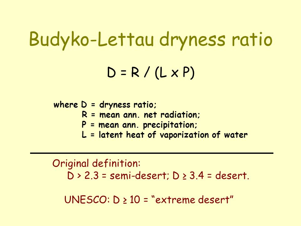 Budyko-Lettau dryness ratio