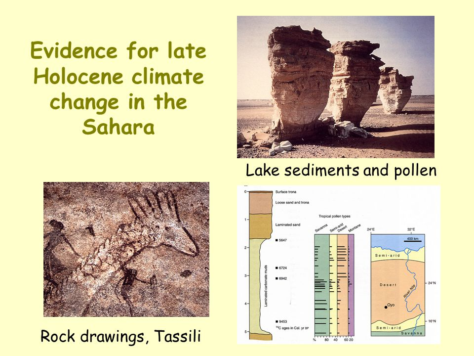 Evidence for late Holocene climate change in the Sahara