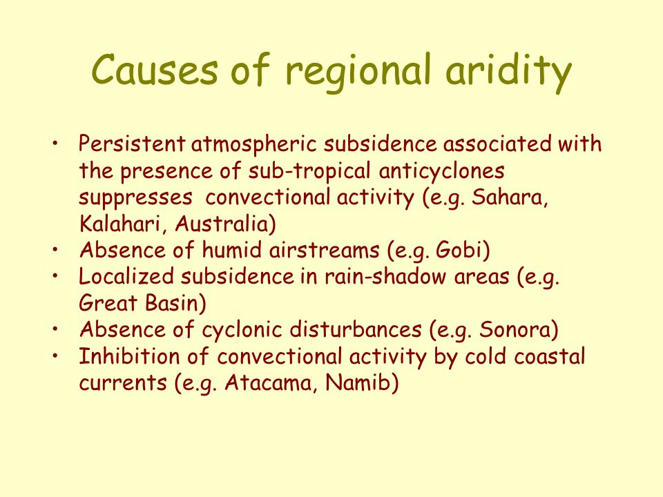 Causes of regional aridity