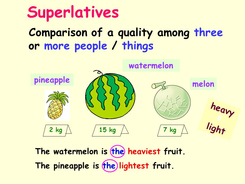 Superlatives Comparison of a quality among three or more people / things. heavy  light. 2 kg 15 kg 7 kg.