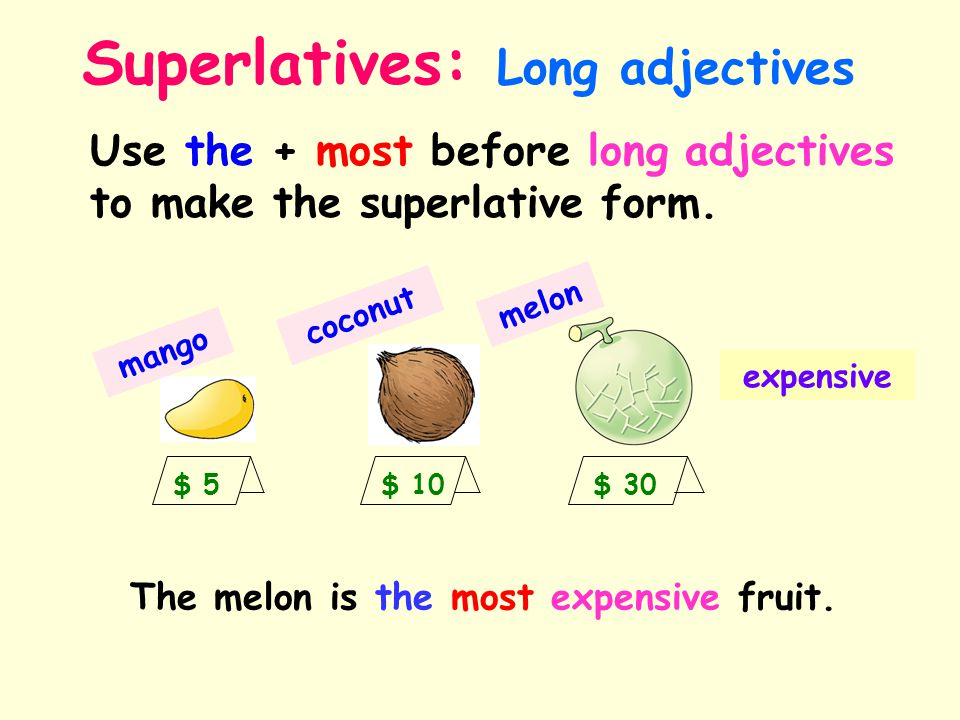 Superlatives: Long adjectives