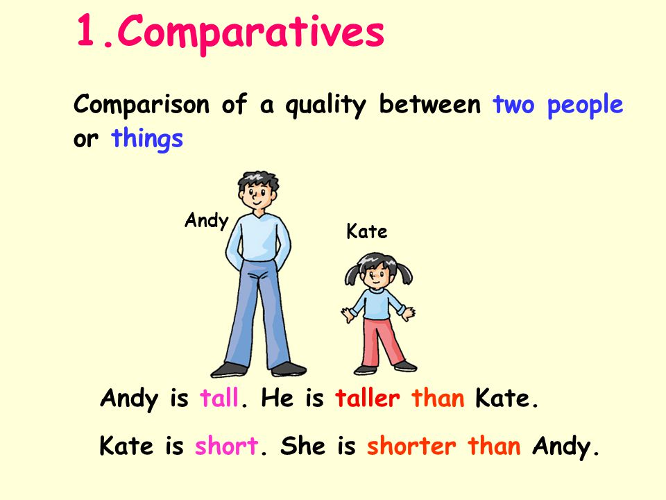 1.Comparatives Comparison of a quality between two people or things