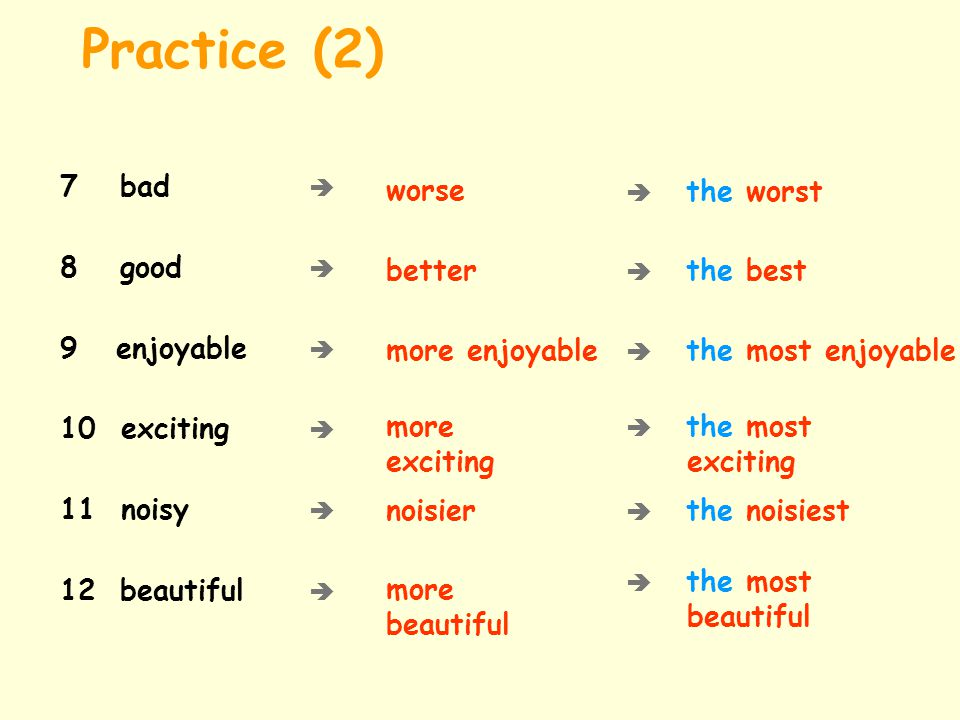 Practice (2) 7 bad  worse 8 good  9 enjoyable  better 10 exciting 