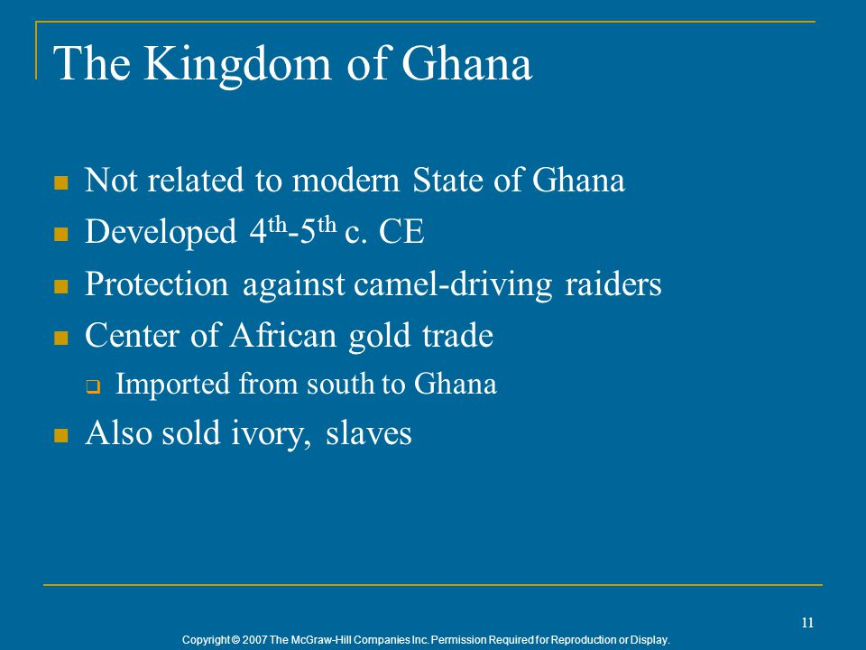 The Kingdom of Ghana Not related to modern State of Ghana