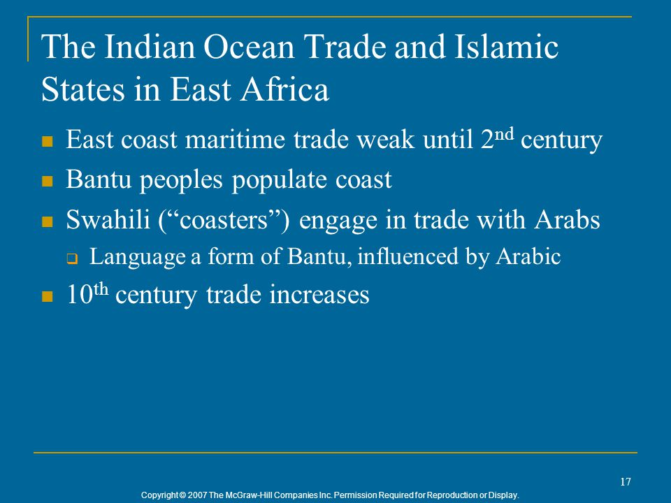 The Indian Ocean Trade and Islamic States in East Africa