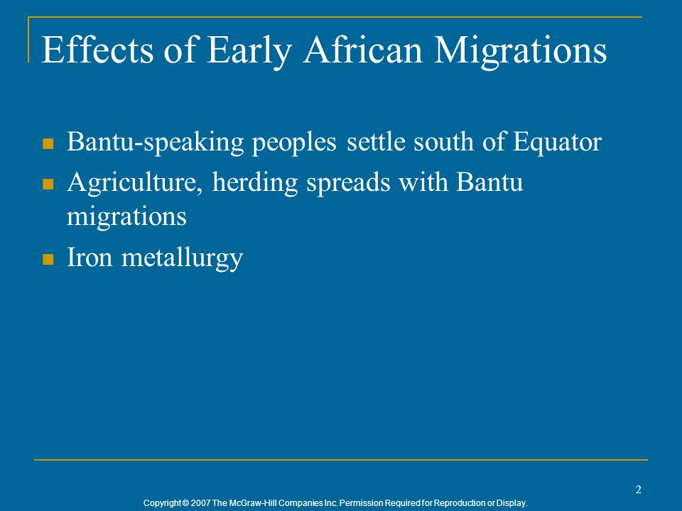 Effects of Early African Migrations