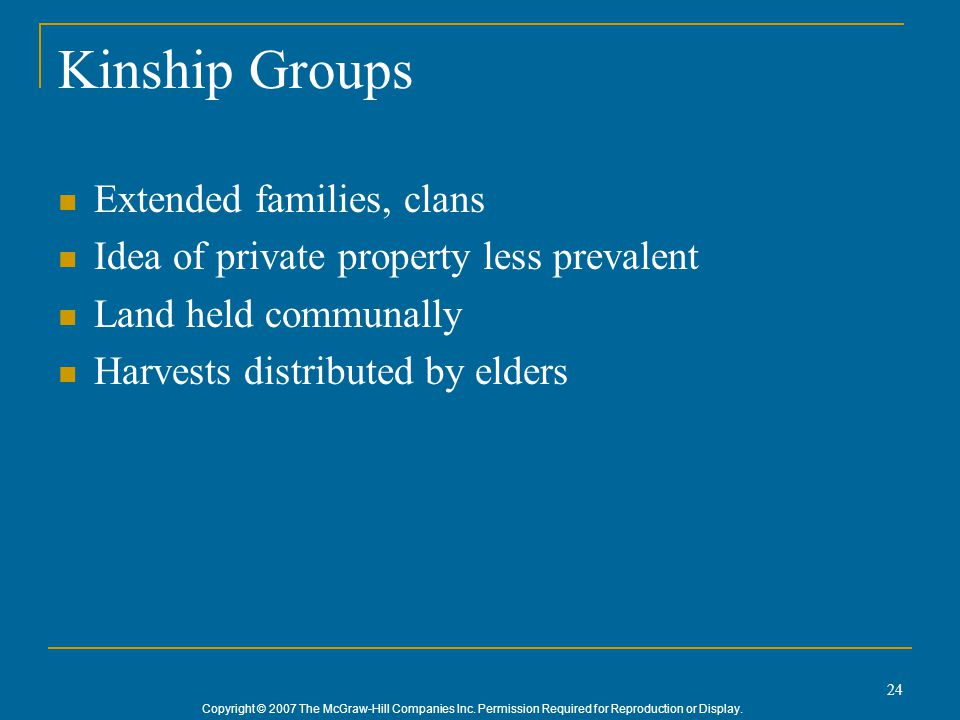 Kinship Groups Extended families, clans