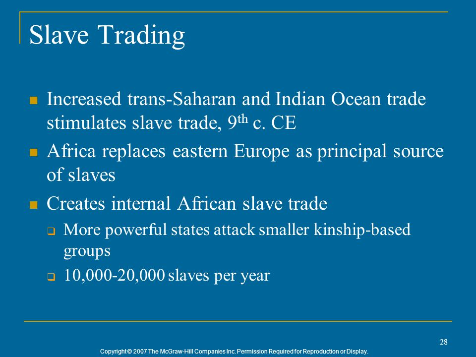 Slave Trading Increased trans-Saharan and Indian Ocean trade stimulates slave trade, 9th c. CE.