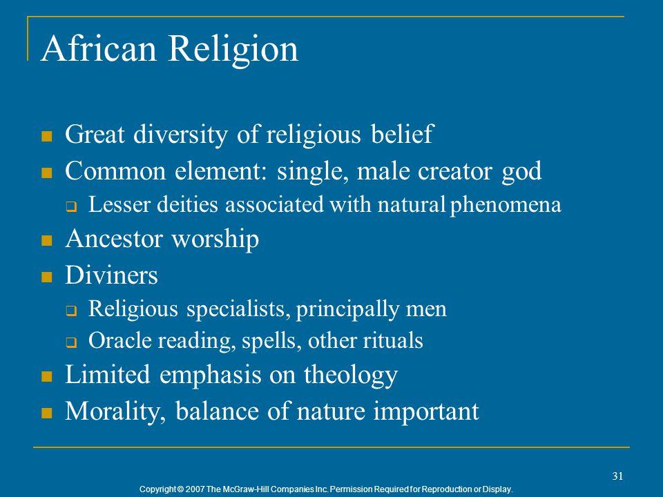African Religion Great diversity of religious belief