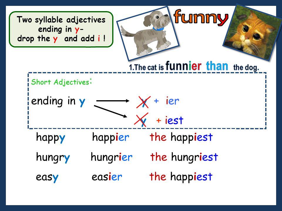 funny ending in y y + ier y + iest happy happier the happiest