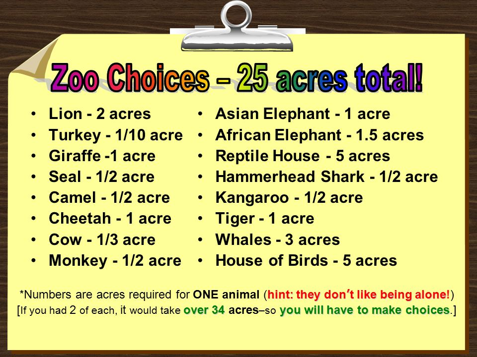 Zoo Choices – 25 acres total!