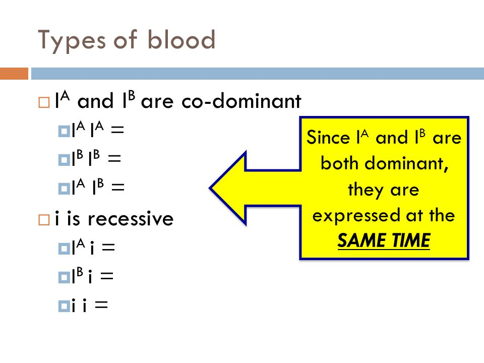 Since IA and IB are both dominant, they are expressed at the SAME TIME