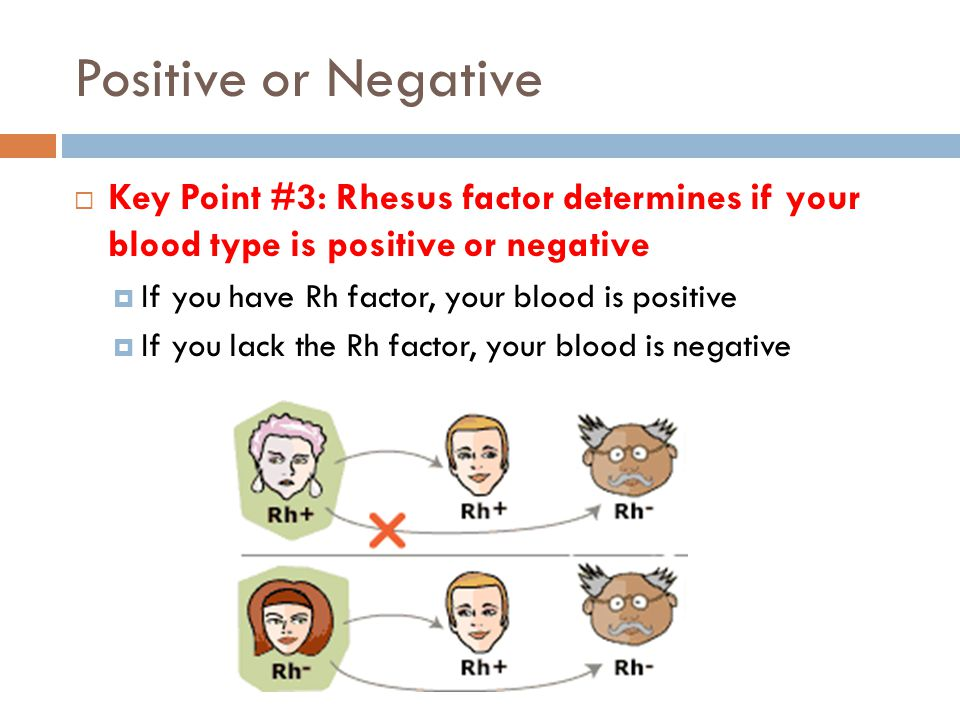 Positive or Negative Key Point #3: Rhesus factor determines if your blood type is positive or negative.