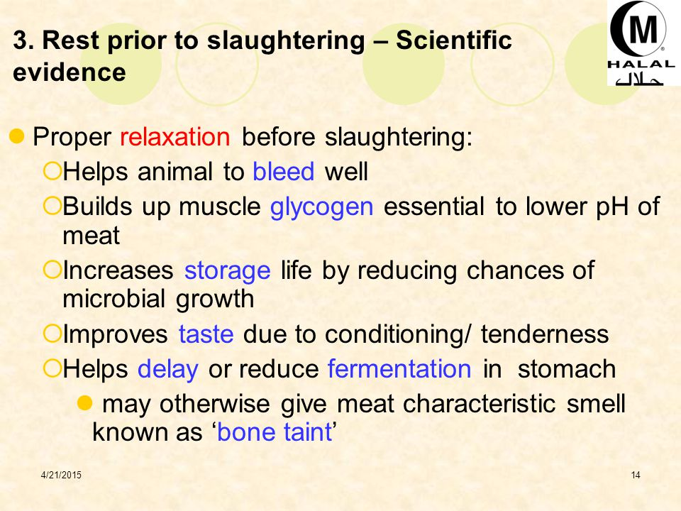 3. Rest prior to slaughtering – Scientific evidence