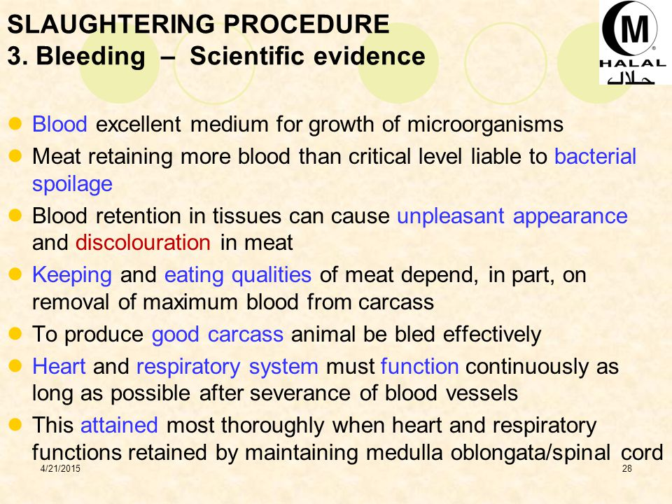 SLAUGHTERING PROCEDURE 3. Bleeding – Scientific evidence