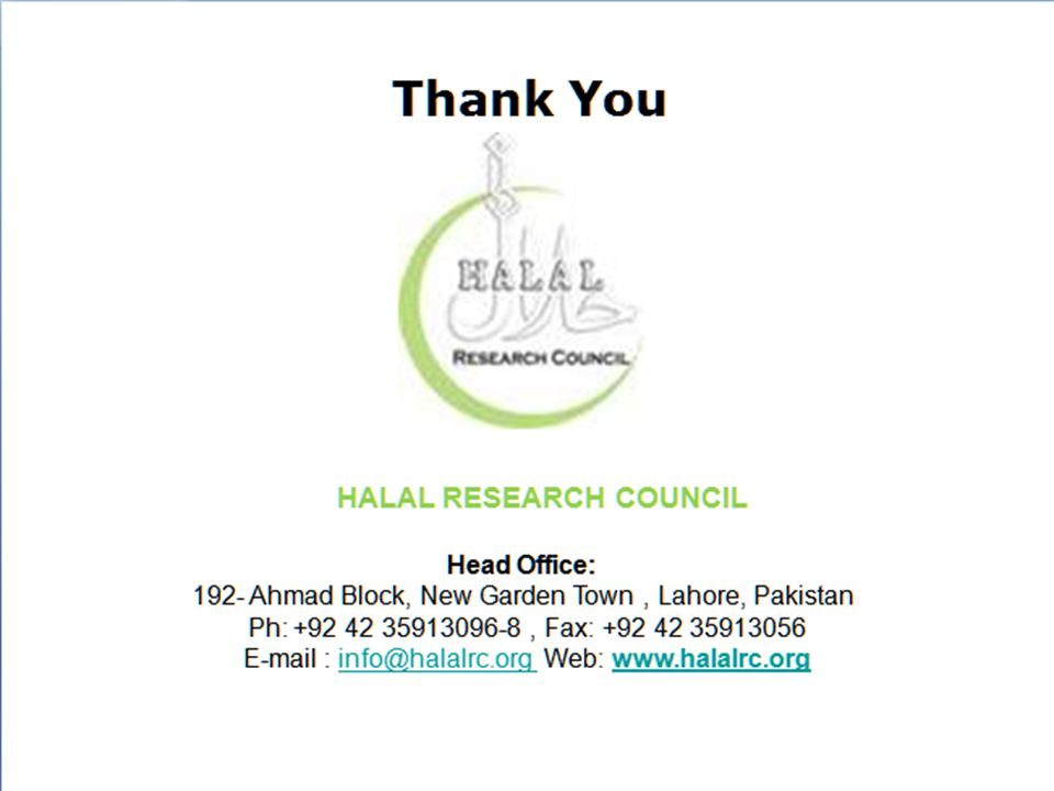 Thank You HALAL RESEARCH COUNCIL
