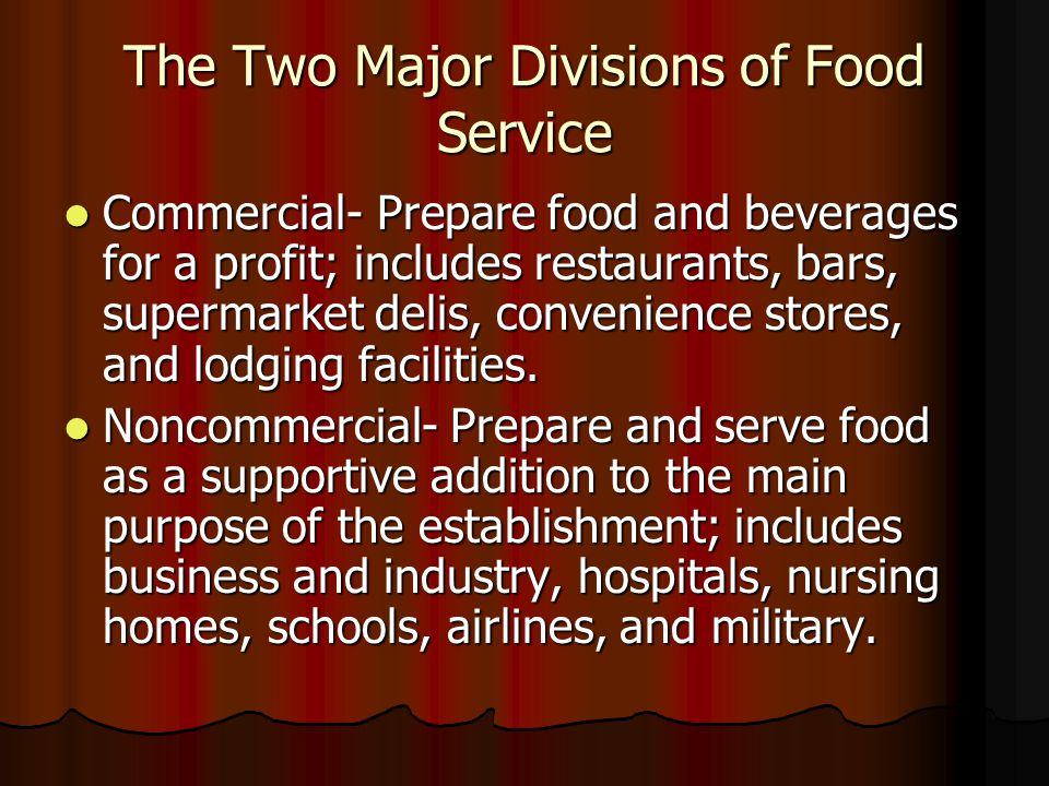The Two Major Divisions of Food Service