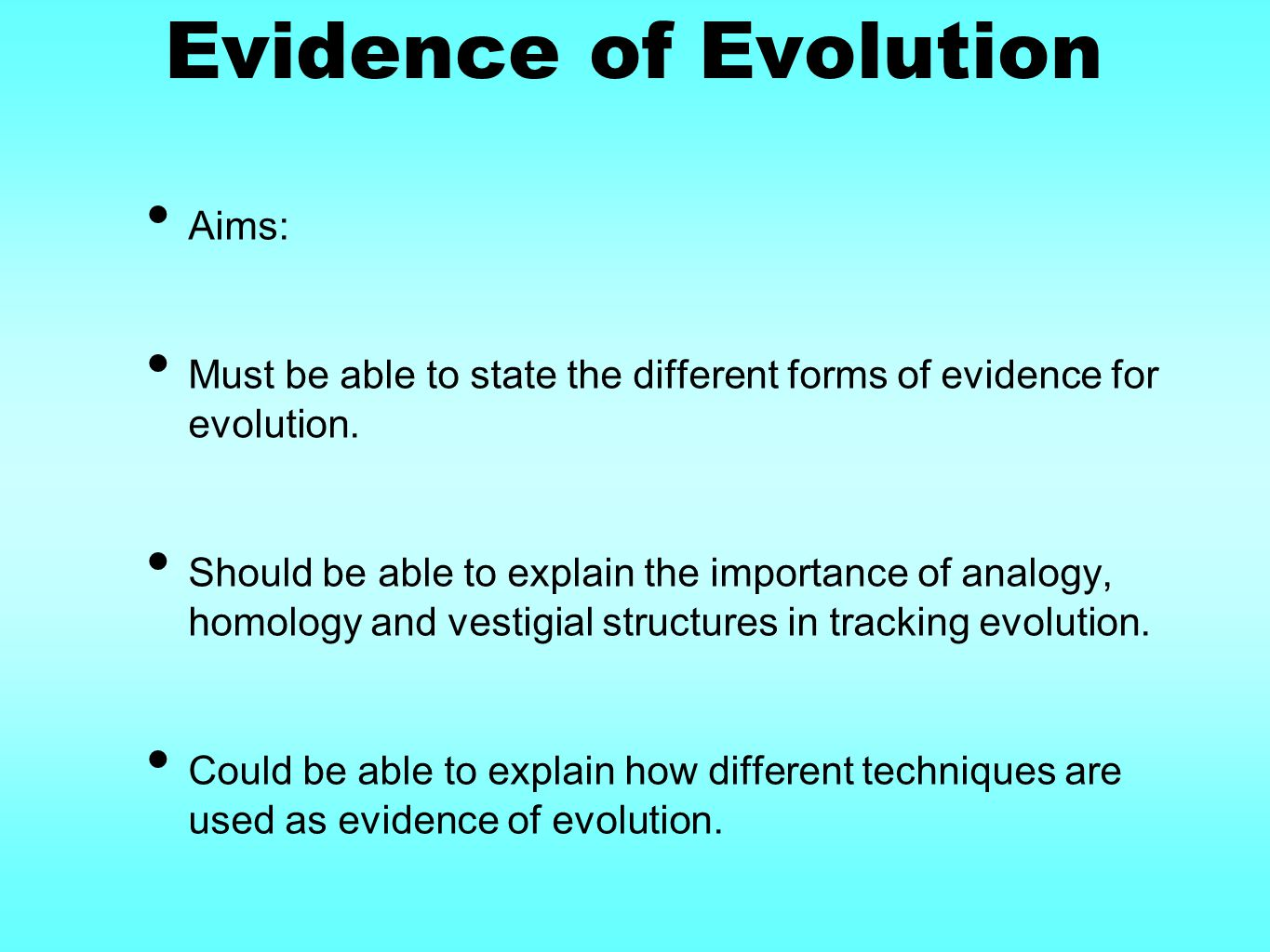 Evidence of Evolution Aims: